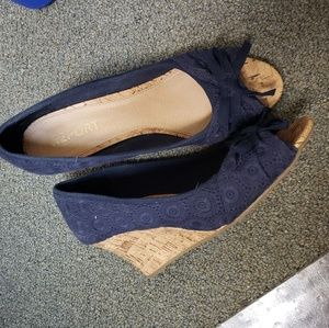 Report Navy and Cork Wedges